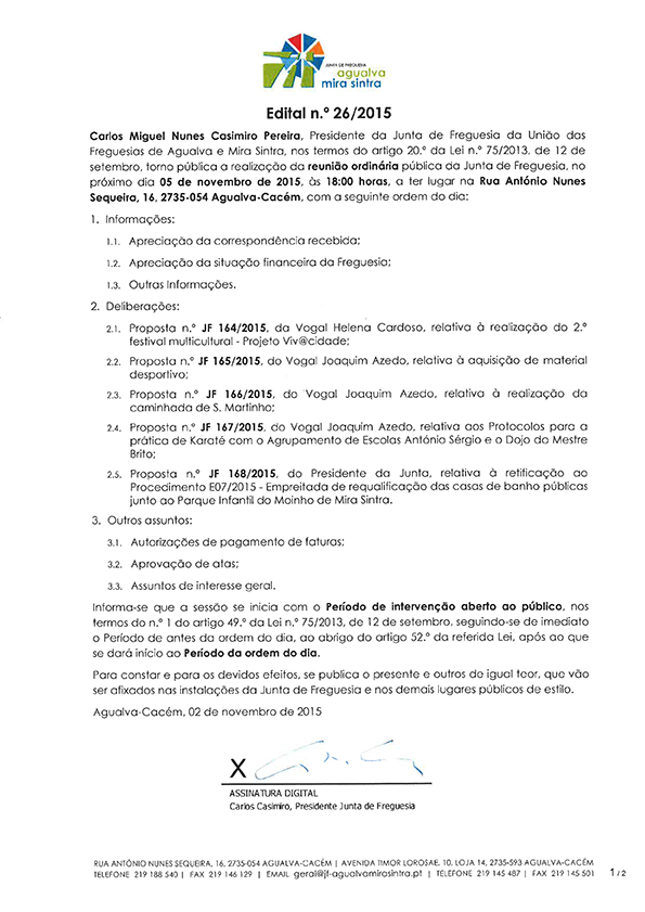 Edital n.º 26/2015