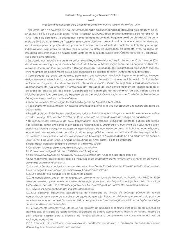 Procedimento Concursal para a contratação de um técnico superior de Ação Social.