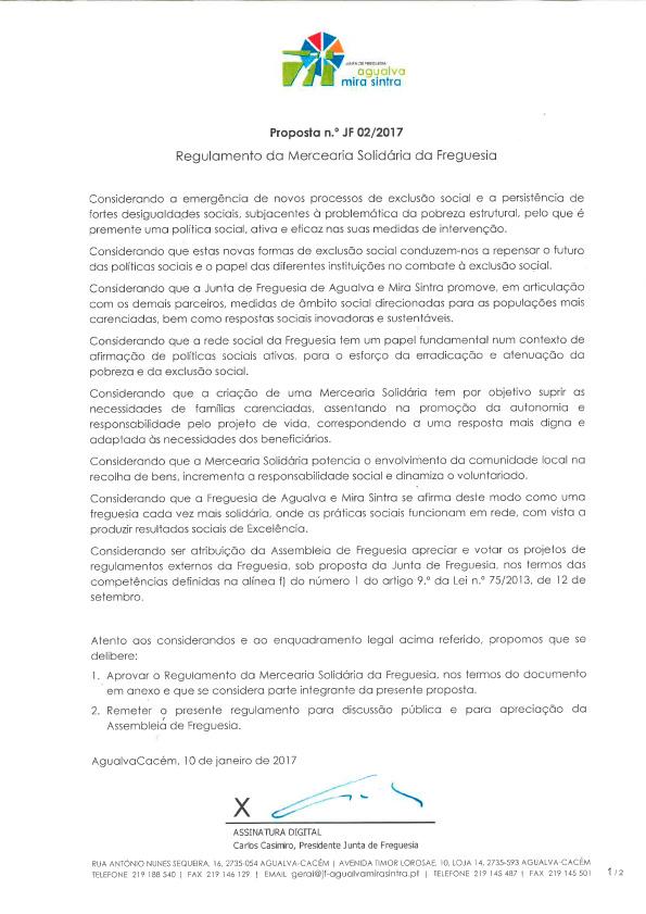 Regulamento da Mercearia Solidária