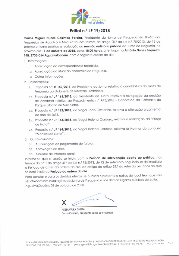 Edital n.º JF 19/2018