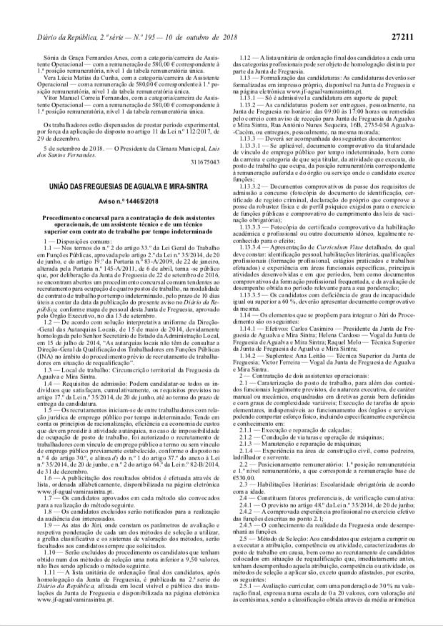 DRE Aviso n.º 14465/2018