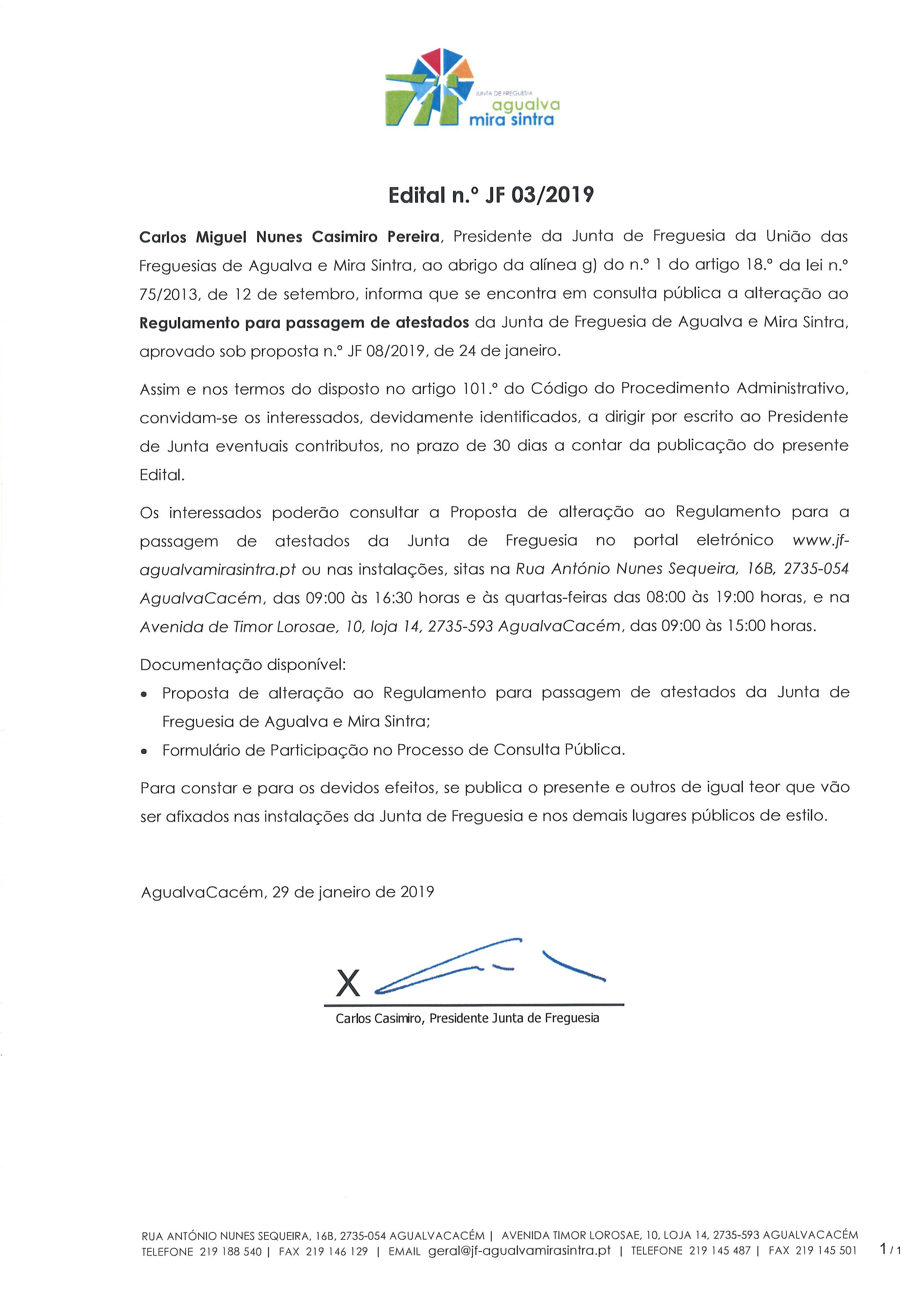 Edital n.º JF 03/2019
