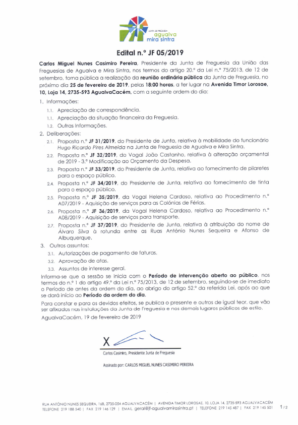 Edital n.º JF 05/2019