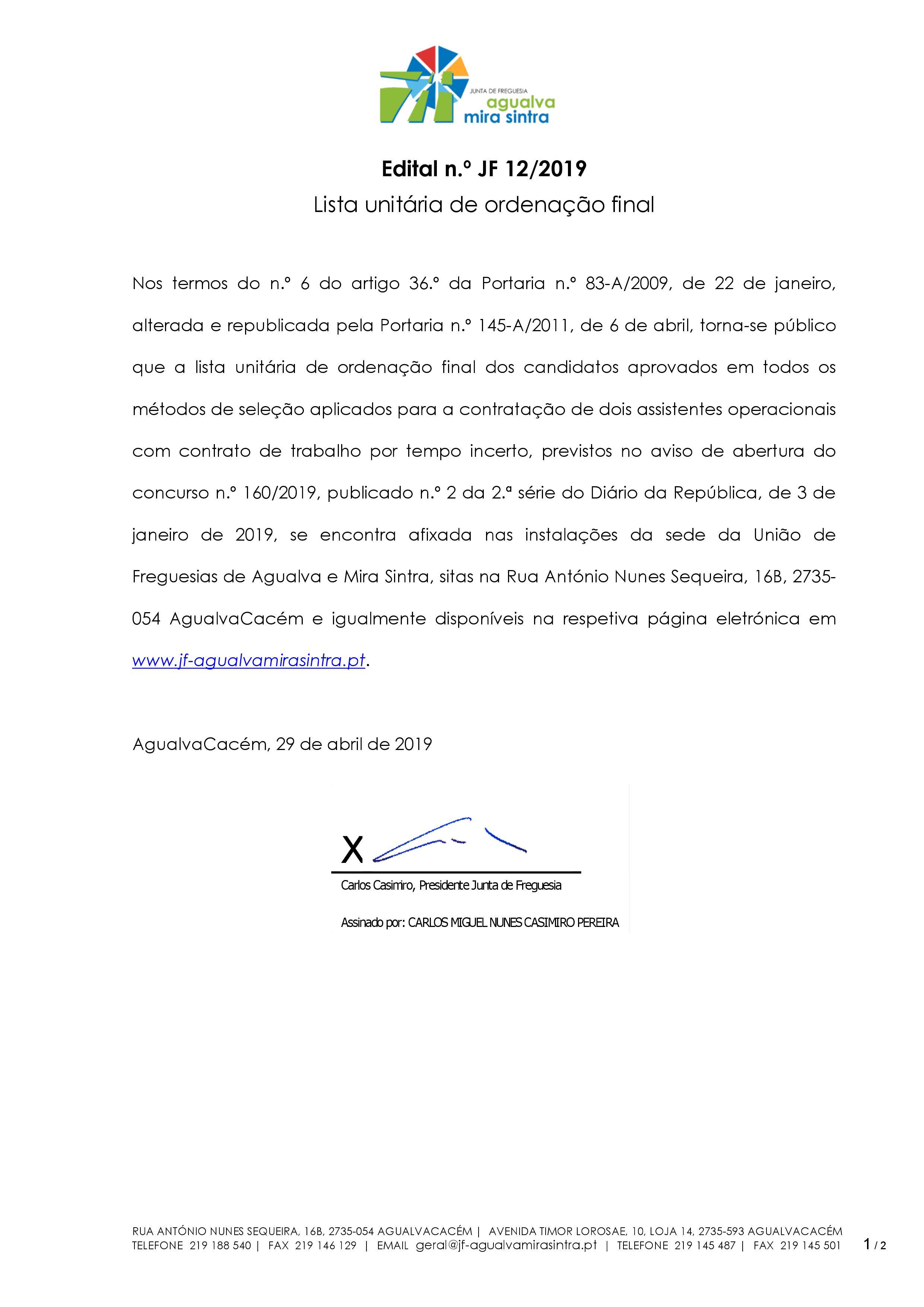 Concurso Público nº 160/2019