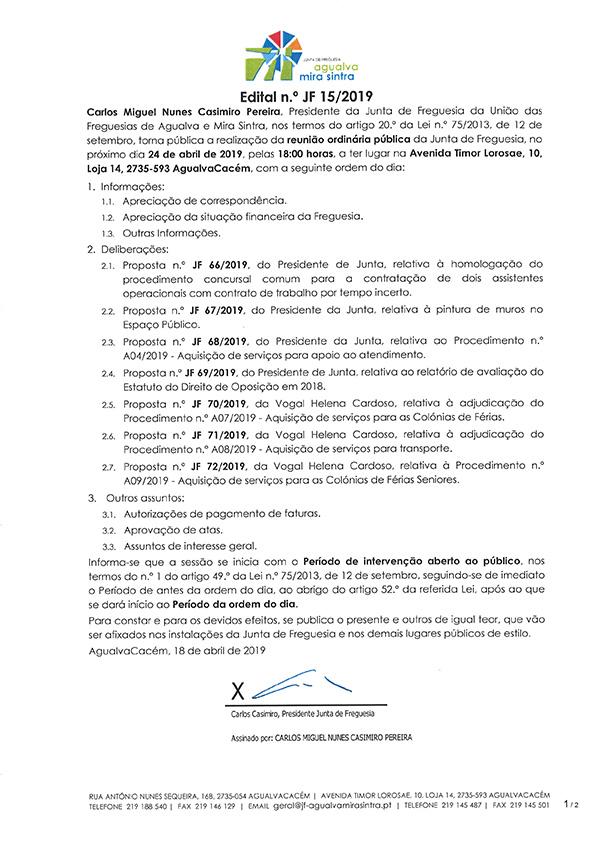 Edital n.º JF 15/2019