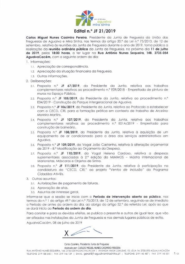 Edital n.º JF 21/2019