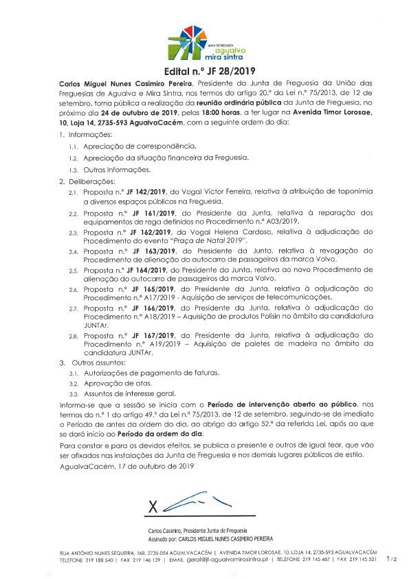 Edital n.º JF 28/2019