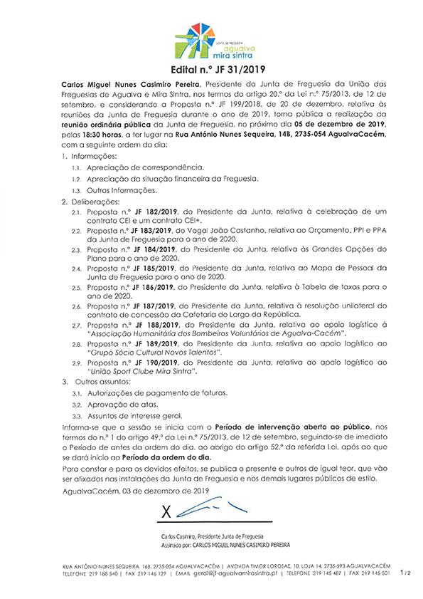 Edital n.º JF 31/2019