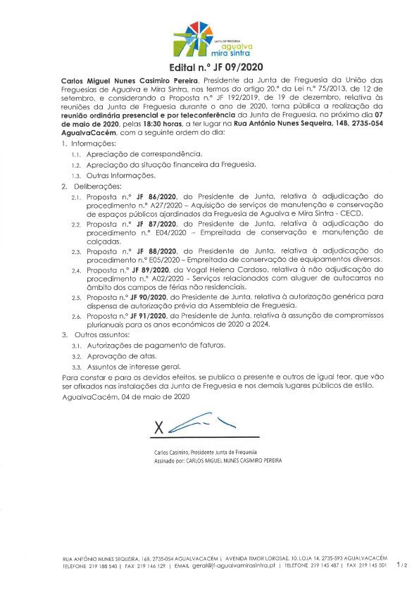 Edital n.º JF 09/2020