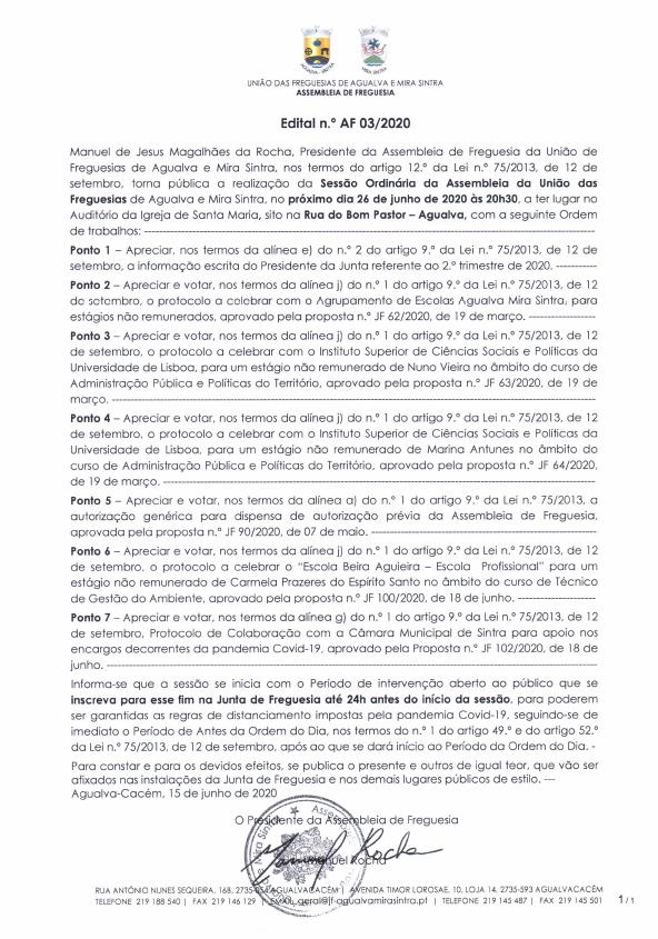 Edital n.º AF 03/2020