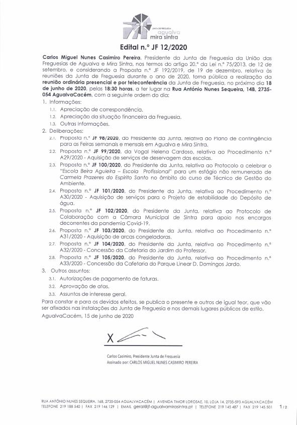 Edital n.º JF 12/2020