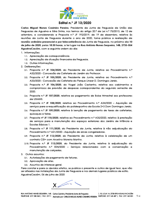 Edital n.º JF 13/2020