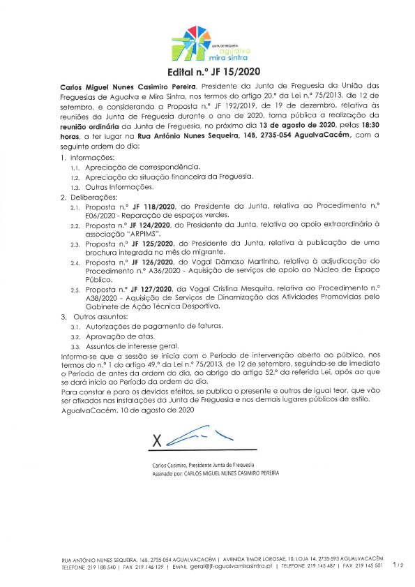 Edital n.º JF 15/2020