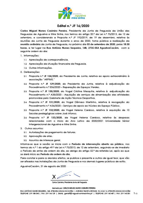 Edital n.º JF 16/2020