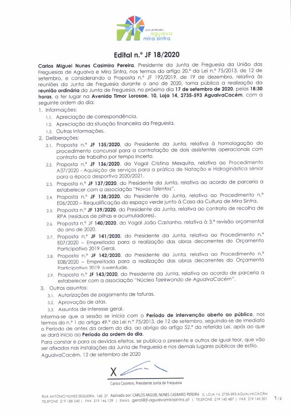 Edital n.º JF 18/2020