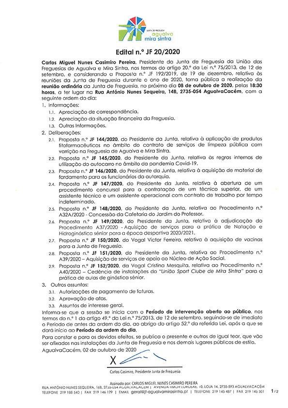 Edital n.º JF 20/2020