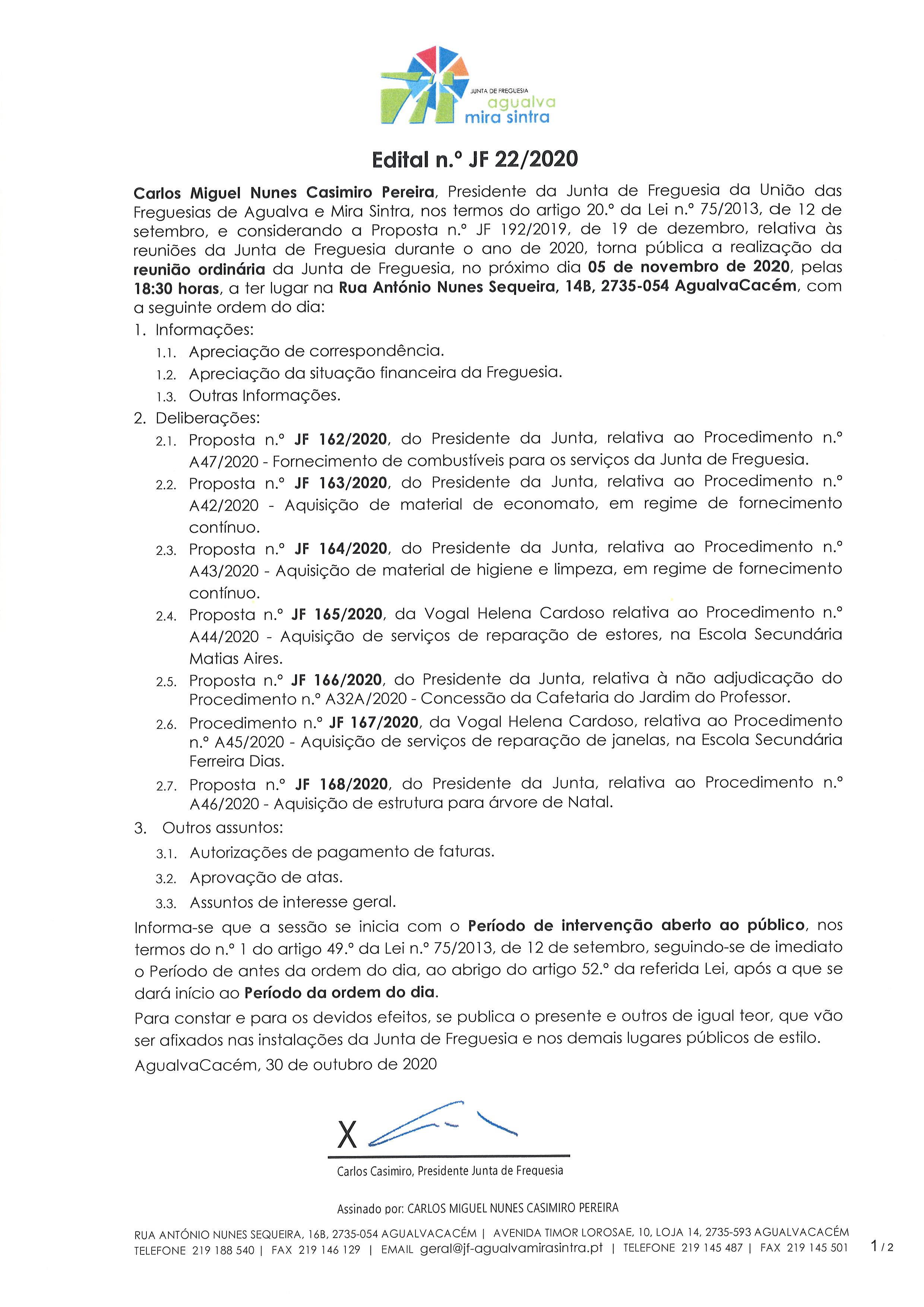Edital n.º JF 22/2020