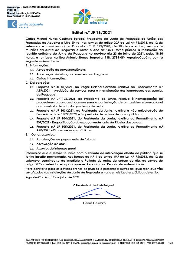 Edital n.º JF 16/2021
